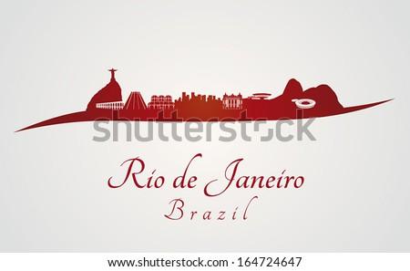 rio de janeiro skyline in red
