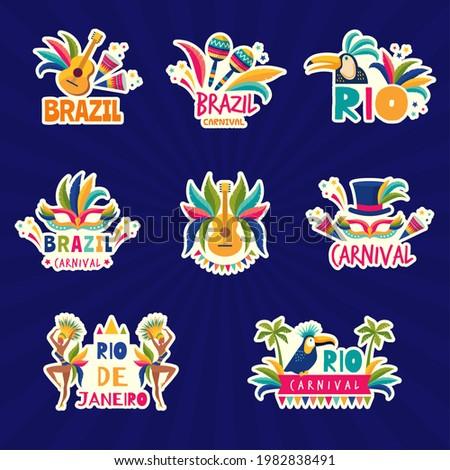 Rio logo. Brazil festival colored badges muzical fiesta samba parade music instrument recent vector illustrations set collection Imagine de stoc ©