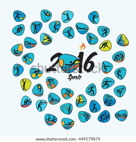 Rio 2016 Olympic games in Brazil. Summer sports icons set. All 41 of Olympics species of events. Rio summer Olympic games symbols. Sport categories Rio 2016. Sport vector icons and illustrations.