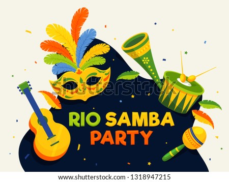 Rio Samba Party poster or banner design with illustration of mask and music instruments.
