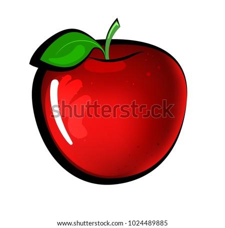 ripe bright apple with black