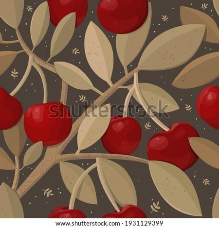 ripe cherries on a branch tree