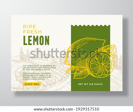 Ripe Fresh Lemon Food Label Template. Abstract Vector Packaging Design Layout. Modern Typography Banner with Hand Drawn Citrus Fruit and Rural Landscape Background. Isolated.