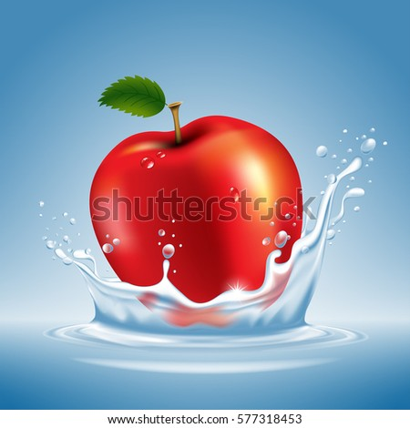 ripe fresh red apple with water