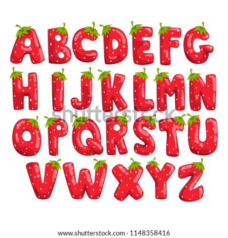 Ripe fresh strawberry English alphabet, bright red berry font vector Illustrations on a white background