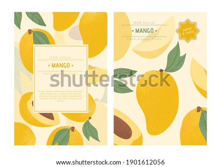 Ripe mango with leaves card template. Sweet mango fruits vector hand drawn poster design. Mango with leaf. Juice or jam poster concept.