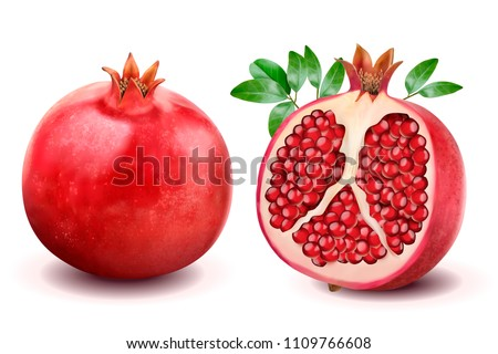 Ripe pomegranates with leaves isolated on a white background in 3d illustration