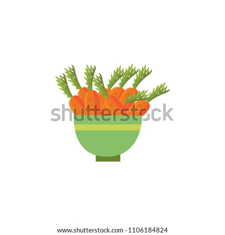Ripe raw carrot with green halm leaves in ceramic pot icon. Orange healthy food, vegetable full of vitamins. Fresh nutritions source dieting and healthy life style symbol. Vector illustration isolated #1106184824