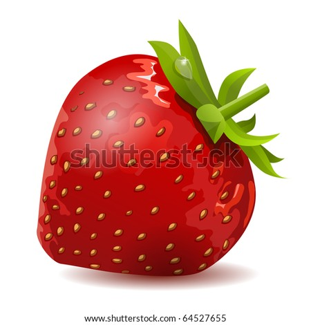 Ripe strawberry isolated on white background