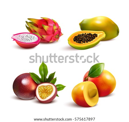 Ripe tropical fruits and slices realistic set with isolated images of mango pitaya papaya and passionfruit vector illustration #575617897