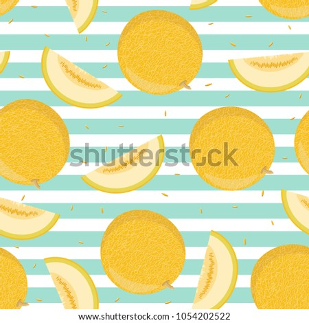 Ripe yellow whole and cut pieces of melons. Seamless pattern. Background. Design for textiles, packaging, banner, labels. Vector illustration.