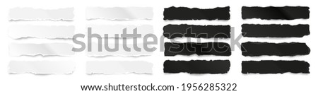 Ripped black and white paper strips. Realistic crumpled paper scraps with torn edges. Shreds of notebook pages. Vector illustration. Photo stock ©