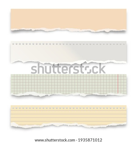 Ripped colorful paper strips isolated on white background. Realistic crumpled paper scraps with torn edges. Lined shreds of notebook pages. Vector illustration. Photo stock ©