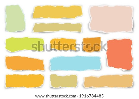 Ripped colorful paper strips. Realistic crumpled paper scraps with torn edges. Shreds of notebook pages. Vector illustration. Photo stock ©