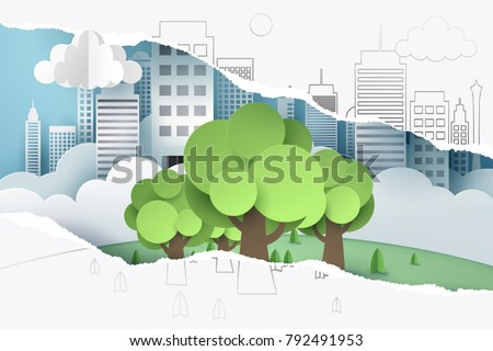 Ripped hand drawing paper and see through paper art of tree and town, world sustainable environment friendly idea, vector art and illustration.