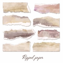 Ripped paper excluded on a white background. Set of torn watercolor banners. Torn light scraps of paper for notes Scraps of vector realistic images for banners.