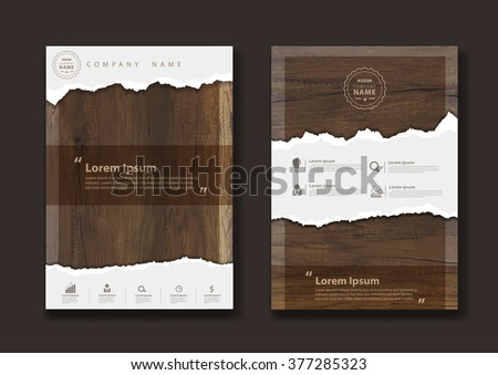 Ripped paper on texture of wood background, Business brochure flyer design layout template in A4 size, Vector illustration modern design ( Image trace of wooden background )