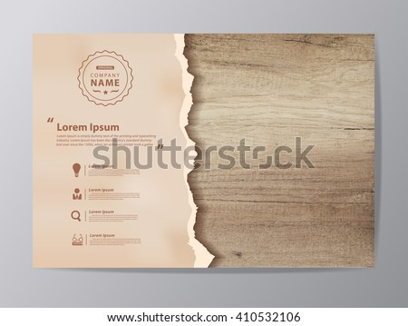 ripped paper on texture of wood ...