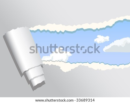 ripped paper revealing blue sky