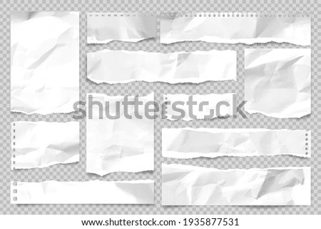 Ripped paper strips isolated on transparent background. Realistic crumpled paper scraps with torn edges. Sticky notes, shreds of notebook pages. Vector illustration. Photo stock ©