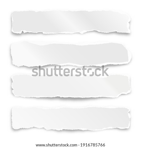 Ripped paper strips isolated on white background. Realistic crumpled paper scraps with torn edges. Shreds of notebook pages. Vector illustration. Photo stock ©