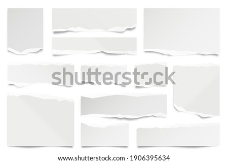 Ripped paper strips isolated on white background. Realistic paper scraps with torn edges. Sticky notes, shreds of notebook pages. Vector illustration. Foto stock ©