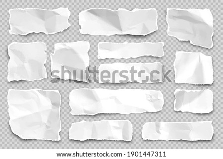 Ripped paper strips on transparent background. Realistic crumpled paper scraps with torn edges. Shreds of notebook pages. Vector illustration. Photo stock ©