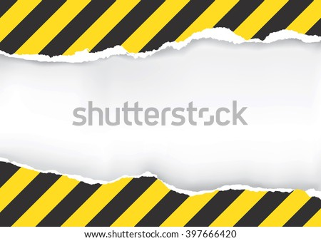 Ripped Paper With Construction Sign. Illustration of ripped paper with construction sign with place for your image or text. Vector available.
