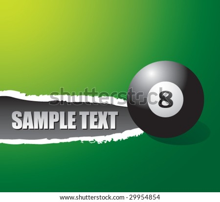 ripped paper with eight ball