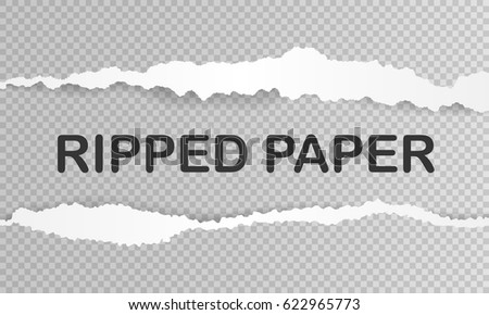 Ripped paper with shadow and space for text. Transparent background. Vector illustration.