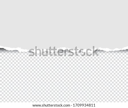 Ripped paperwith ripped edges and transparent space for you design. Paper texture with ripped edges and shadow. Horizontal banner templateVector illustration