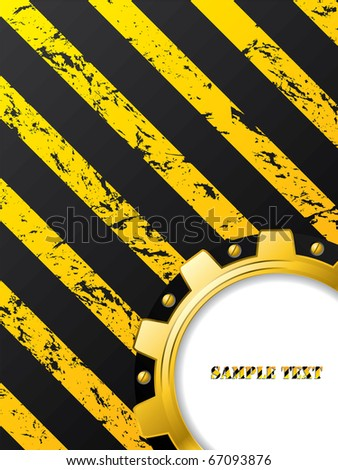 Ripped striped background with cogwheel