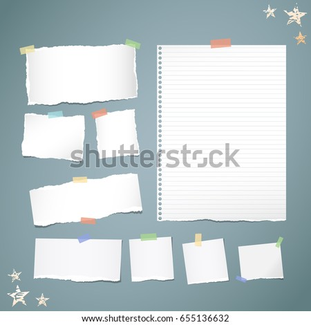 Ripped white note, notebook, copybook paper strips stuck with colorful sticky tape, stars on blue background.