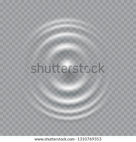 Ripple, splash water waves surface from drop isolated on transparent background. White sound impact effect top view. Vector circle ripple water, liquid shampoo or gel swirl round texture template.