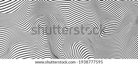 Ripple texture black and white curve lines background vector design. Wave oblique smooth lines optical effect pattern. Monochrome gray scale wave curves texture, black ripple on white. Сток-фото ©