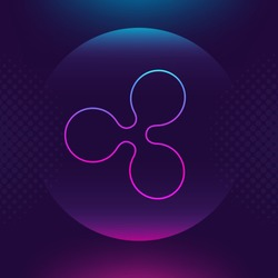 Ripple XRP vector outline icon. Cryptocurrency, e-currency, Ripple crypto currency, blockchain button. Trendy Bright lighting logo adaptation design web site mobile app, EPS. Ultra violet background