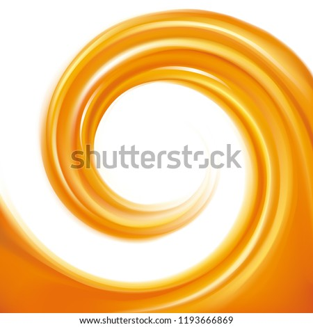 Rippled fond with space for text in glowing white milk center. Curl fluid surface vivid hot terracotta color. Circle fresh mix of sweet red carrot, apricot, pumpkin dessert syrup