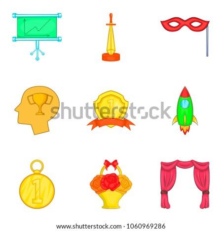 rise icons set. cartoon set of...