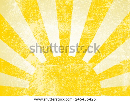 Rising or setting sun with sun rays in yellow. Vector