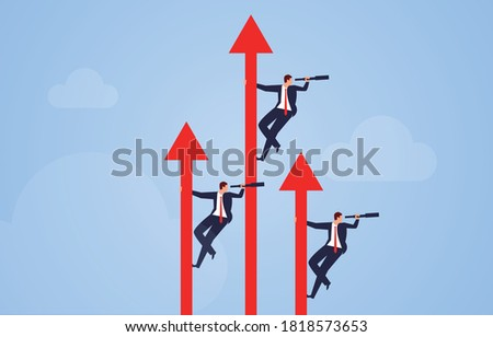 Rising red arrow leads a businessman holding a telescope to observe the distance Foto stock ©