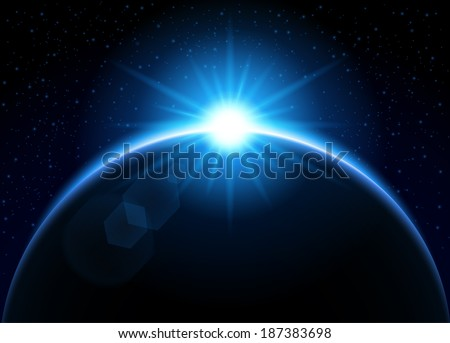 rising sun behind the planet