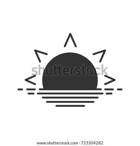 Rising sun glyph icon. Silhouette symbol. Sea dawn. Negative space. Vector isolated illustration