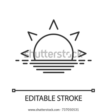 Rising sun linear icon. Morning. Evening. Thin line illustration. Sea dawn. Contour symbol. Vector isolated outline drawing. Editable stroke