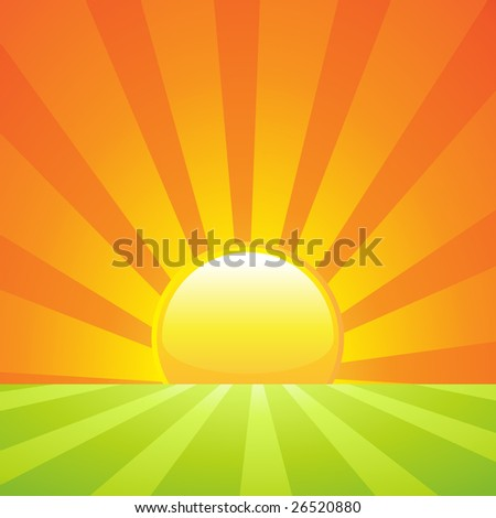 Rising sun on a green landscape background or banner - stock vector