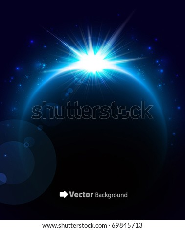 Rising Sun over the planet. Vector space background