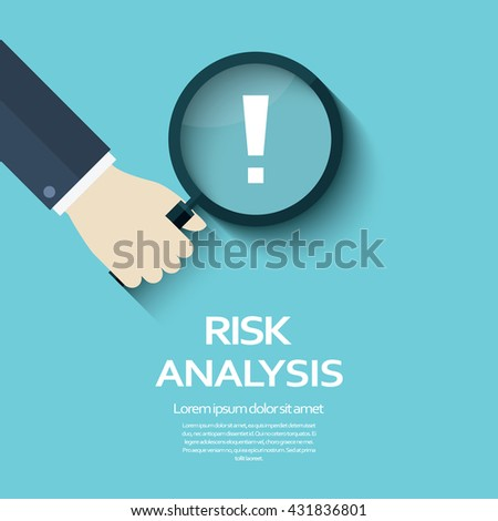 Risk analysis vector illustration background with magnifying glass and exclamation mark. Eps10 vector illustration.