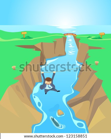 Risk business concept with a businessman climbing a rope across the chasm, Illustration by vector design.