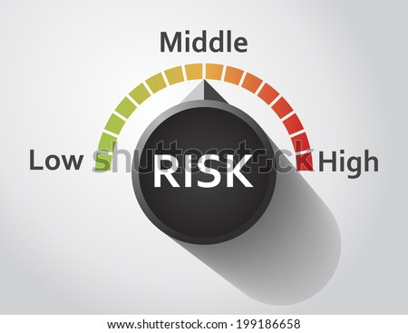 Risk button pointing between low and high level, Vector graphic