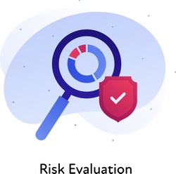 Risk evaluation business. Concept of audit, financial analysis. Vector flat color icon illustration. Magnifying glass over chart icon with shield. Design element for banner, poster, web, background.