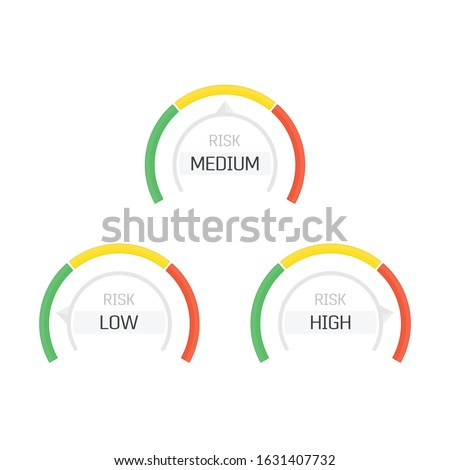 Risk Gauge Scale Measure. High risk meter isolated on white background. Concept graphic element of tachometer, indicators, speedometers, score. Low, medium and high gauges. Vector illustration EPS 10 ストックフォト ©